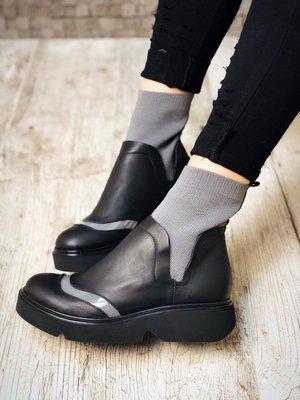 Ботинки натуральная кожа, оригинальная модель, черные с серым
