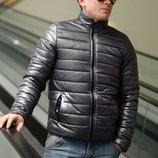 Мужская стильная куртка на синтепоне демисезон 730 Плащёвка Стойка в расцветках.