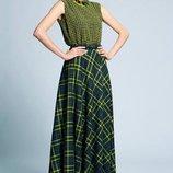 Шикарная классическая юбка макси полусолнце с принтом в клетку в стиле Бохо есть пошив с карманами