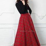 Классическая юбка макси полусолнце в клетку есть вариант пошива с карманами все размеры в стиле Бохо