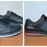 Кожаные мужские кроссовки , черный, синий, 40-45 р.,24