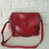 Кожаная сумочка на длинной ручке синди 3а Red