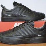 Мужские черные кожаные кроссовки, 40-45 р., 24