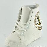 Ботиночки сникерсы белые якорь