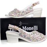 Босоножки Fabio Monelli женские белые цветочный принт на устойчивом каблуке