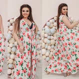 Женская длинная пляжная туника в больших размерах 411-1 Софт Розы Макси в расцветках.