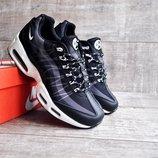 Кроссовки мужские сетка Nike Air Max 95 черные с белым