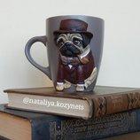 Авторская чашка,кружка с декором из полимерной глины Мопс.чашка с собакой.