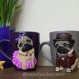 Чайная пара Мопсы.чашки,кружки декорированые полимерной глиной.Чашка с собакой.