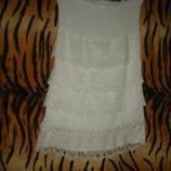 Платье белоснежное,р.8,50%коттон,50%шелк,италия.