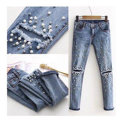 4441e1e984d джинсы женские с бусинами рваные Хит продаж 2018 года бойфренды штаны брюки  женские лосины