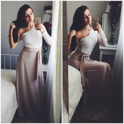 2344ae411e7 Роскошное вечернее платье в пол Рианна один рукавчик ассиметрия с поясом  гипюр микромасло