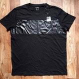 Черная футболка со вставкой кожзама размер L, 21-73 Ю