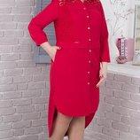 нарядное платье-рубашка 52-62 рр. Цвета