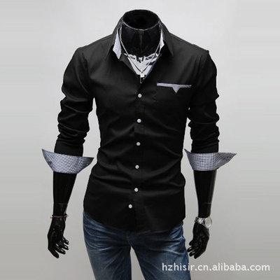 Мужская рубашка с длинным рукавом и контрастными манжетами черная New 2019 код 46