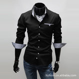 Мужская рубашка с длинным рукавом и контрастными манжетами черная New 2018 код 46