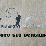 Наклейка На рыбалку Черная, Белая светоотражающая Тюнинг авто