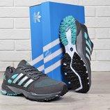 Кроссовки мужские Adidas marathon tr 21 текстильные серые с зеленым