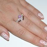 Кольцо серебряное с золотом и фианитами 063к