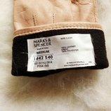 Персиковые беж нюд кожаные перчатки рукавички пудра