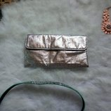 Яркий серебряный вместительный кошелек маленький клатч металлик