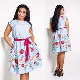 Элегантное летнее женское платье в больших размерах 1395 Лён Вышивка Пояс Контраст в расцветках.