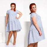 Стильное летнее женское платье в больших размерах 483 Лён Полоска Волан в расцветках.