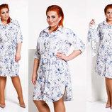 Женское стильное платье-рубашка в больших размерах 4115 Софт Цветы Поясок .