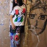 Футболка с принтом футболка с рисунком ручная роспись В Наличии