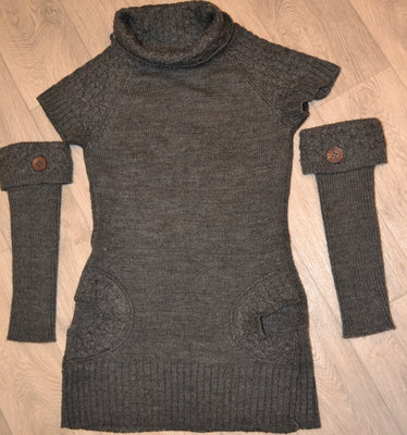 Платье вязанное р 46 темно-серое
