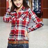 Рубашка, блузка женская в клеточку красно-голубая M-XL 8816-12