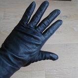 перчатки на тонком флисе черные кожаные рр М HEMA Хема
