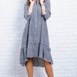 Модное асимметричное женское платье в клетку 42-60р