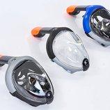 Маска с дыханием через нос для снорклинга Snorkeling Set 501 силикон, размер S-M/L-XL