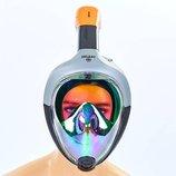 Маска с дыханием через нос для снорклинга Snorkeling Set 502 силикон, размер S-M/L-XL