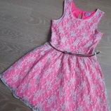 Платье Детское 6-7 л цветы кружево яркое розовое F&F поясок золотой