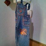 Брендовый джинсовый полукомбез девочке