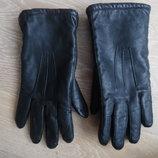 Перчатки женские М кожаные черные зимние