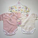Бодики детские на девочку 0-3 мес, рост 56-68 набор из 3 шт.