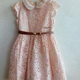 Choupette.Нрядное,кружевное,персиковое платье.