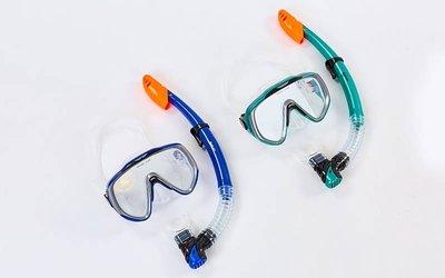 Набор для плавания маска с трубкой Zelart 167-124-SIL термостекло, силикон, пластик