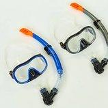 Набор для плавания маска с трубкой Zelart 171-132-1 термостекло, силикон, пластик