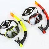 Набор для плавания маска с трубкой Zelart 208-120-SIL термостекло, силикон, пластик
