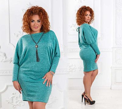 171e10bd691 Элегантное женское платье-туника в больших размерах 1521 Ангора Летучая Мышь  Спина в расцветках.