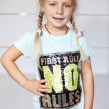 Футболка для девочки Турция 5-8 лет с паетками