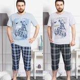 Пижама мужская футболка и капри M-2XL 1128