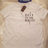 Белая мужская футболка LC Waikiki / Лс Вайкики с надписью на груди Back to the reality