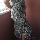Длинное вискозное-трикотажное платье 14 размера длина - 136 см