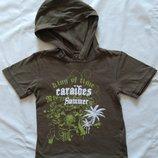 Фирменная стильная футболка с капюшоном на мальчика 5-7лет пиратская с черепом пальмами