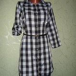 Рубашка удлиненная в клетку с поясом ,рубашка -туника с,м,л,хл